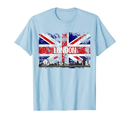 (London Skyline Distressed Union Jack Flag T-Shirt)