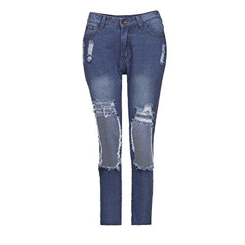 Sunenjoy Jeans Femmes Dechir Trou Denim Pantalons Taille Haute Casual Pantacourt Crayon Skinny Jeans Raccourcis Boyfriend Et Confortable Mode Bleu