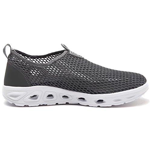 Running Shoes Men Dry Sneakers HOBIBEAR Water Women for Walking Dark on Aqua Grey Lightweight Quick Sailing Slip Boating dZqwXvvFp4