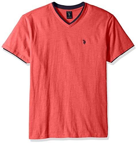 Heather Mens Ringer T-shirt (U.S. Polo Assn. Men's Double Ringer V-Neck T-Shirt, Nantucket red Heather XXL)