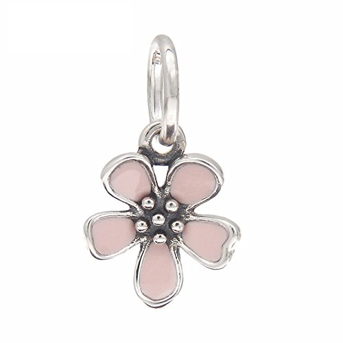Pink Blossom Cherry Charm 925 Sterling Silver Dangling Flower Beads fit Fashion bracelets & Necklaces Blossom Flower Bead
