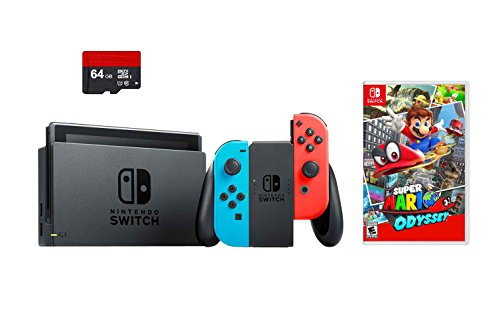 Nintendo Switch 3 items Bundle:Nintendo Switch 32GB Console Neon Red and Blue Joy-con,64GB Micro SD Memory Card and Super Mario Odyssey Game - 64 Nintendo Parts Console