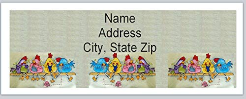 Chicken Address Labels - 150 Personalized Return Address Labels Primitive Country Knitting Chickens (BX 514)