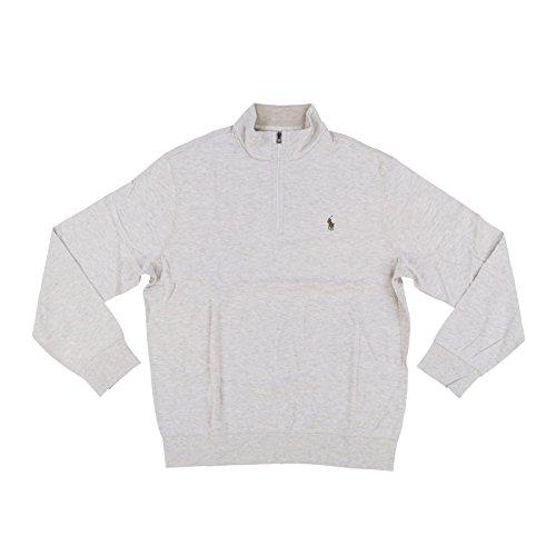 Polo Ralph Lauren Men's Quarter Zip Sweater (Medium, Cream Heather)