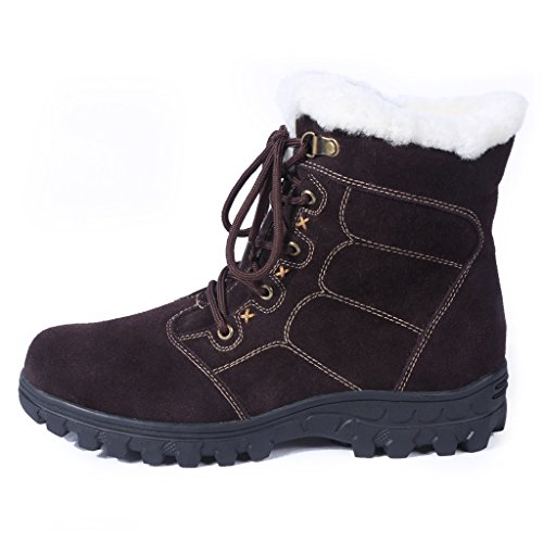 BULL TITAN Women's Fur Lined Cold Weather Winter Non-Slip Ankle Boots Brown 9M (Suede Sheepskin Wedge Womens)