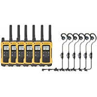 Motorola T400 Two-Way Radio 6-Pack with 6 Curl PTT Earpiece/Mics
