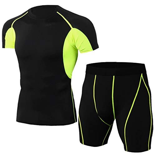 Forthery Big Promotion!Men'S Elastic Fitness T-Shirt - Fast Drying Tops Short Pants Sports Tight Suit(Green,US Size L = Tag XL) ()