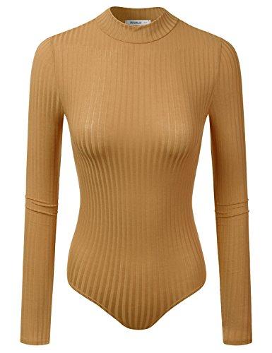 Doublju Thin Ribbed Knit Mockneck Bodysuit For Women With Plus Size (Made In USA) Mustard 3XL (Bodysuit Turtleneck)