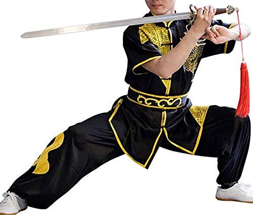 CRB Fashion Mens Boys Childrens Kids Kung Fu Master Tai Chi Dragon Chinese Uniform Outfit Costume Top Shirt Pants Set (Height 180cm, Black)