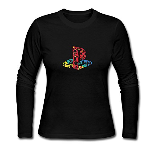 Price comparison product image USM-Women's PlayStation GAME LOGO Long Sleeve Tees Shirt.