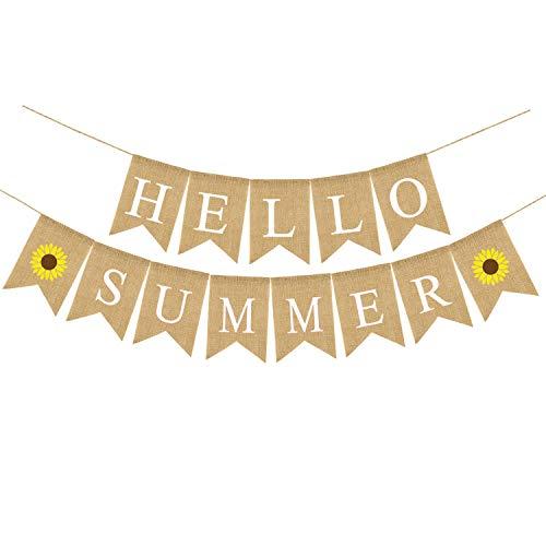 Rainlemon Jute Burlap Hello Summer Banner with Sunflower Summer Outdoor Pool Party, Mantel, Fireplace Decoration