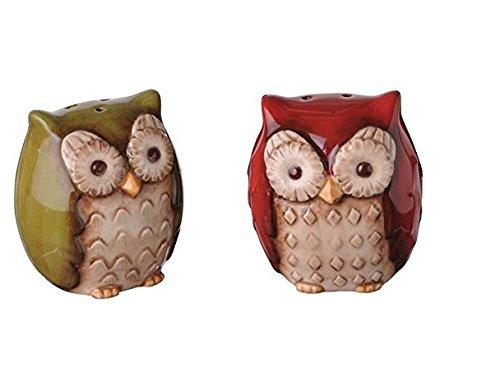 Grasslands Road Crimson Hollow Owl Salt & Pepper Shakers Set - Green