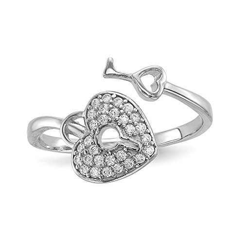 Brilliant Bijou Solid Sterling Silver Rhodium-Plated CZ Cubic Zirconia AAA+ Heart Lock and Key Ring Size ()