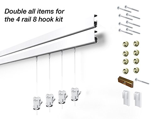 8 Hanging Components STAS Cliprail Pro Picture Hanging System Kit- Heavy Duty Track and Art Hanging Gallery Kit for Home, Office or Public Space (4 rails 8 hooks and cords, white rails) by Stas Picture Hanging Systems
