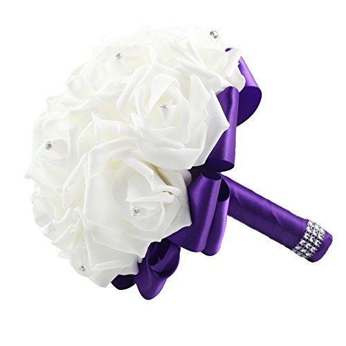 Purple wedding bouquets amazon ourwarm purple crystal roses pearl bridal bridesmaid wedding bouquet artificial silk flowers with 1pcs glue stick junglespirit Choice Image