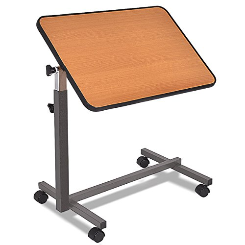 Picotech Overbed Table MDF Steel Beige Durable Sturdy Multi-purpose Mobility 4 Casters Safety Locks Adjustable Tabletop Tilt All ages laptop drawing writing reading eating food serving medical tray by Picotech