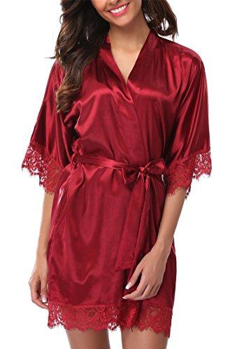 Giova Women's Lace Trim Kimono Robe Nightwear Nightgown Sleepwear Satin Short Robe Red Large -
