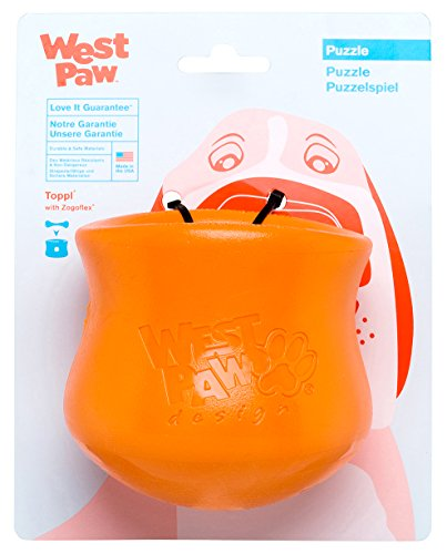 West Paw Zogoflex Toppl Interactive Treat Dispensing Dog Puzzle Play Toy, 100% Guaranteed Tough, It Floats!, Made in USA, Large, Tangerine