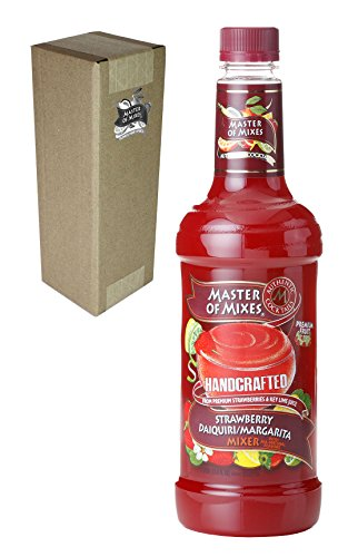 Daiquiri Strawberry Mix (Master of Mixes Strawberry Daiquiri / Margarita Drink Mix, Ready To Use, 1 Liter Bottle (33.8 Fl Oz), Individually Boxed)