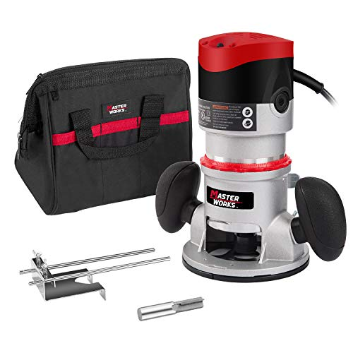 11-Amp 2 HP Fixed-Base Wood Router with Carrying Bag and Edge Guide, Masterworks AERM144