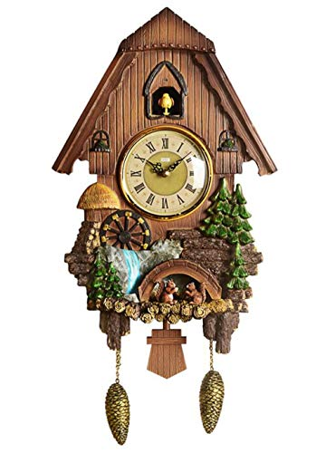 JSHFD Cuckoo Clock Black Forest Quartz Wall Clock Pendulum Movable Bird Dancers Watermill Suitable for Family Kitchen