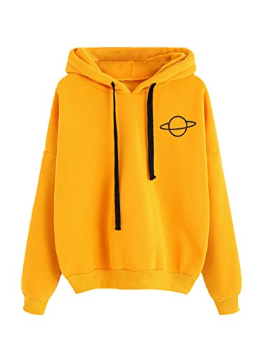 MAKEMECHIC Women's Long Sleeve Graphic Print Casual Pullover Crop Sweatshirt Yellow-Hoodie S