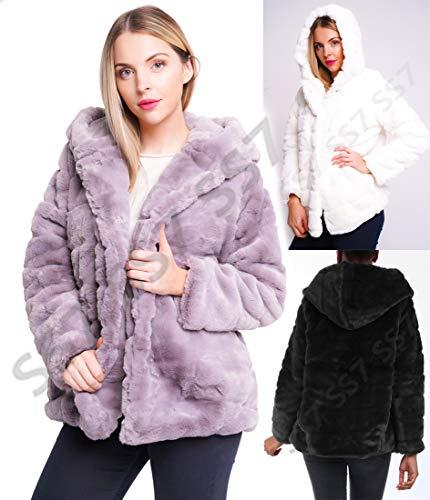 Gris Blanc Noir En Ss7 Fourrure 42 Manteau 36 Capuche Fausse Veste Taille Femmes X51WwqwcZg