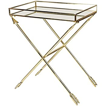 Kate And Laurel Madeira Arrow Metal Accent Table With Mirrored Tray Top,  Gold