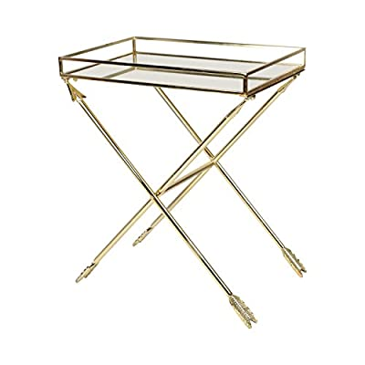 Kate and Laurel Madeira Arrow Metal Accent Table with Mirrored Tray Top, Gold - Decorative metal accent end table with mirrored tray surface and metal arrow crossed legs Modern side table is crafted of metal with glass mirror tray surface Mirrored tray has inner capacity of 20.25 inches by 13.25 inches by 1.75 inches - living-room-furniture, living-room, end-tables - 41pC%2BSZdCEL. SS400  -
