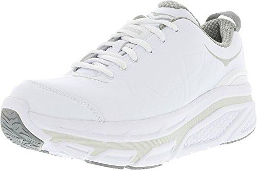 HOKA ONE ONE Women's Valor Long Trail Walking Shoe,White Full-Grain Leather,US 5