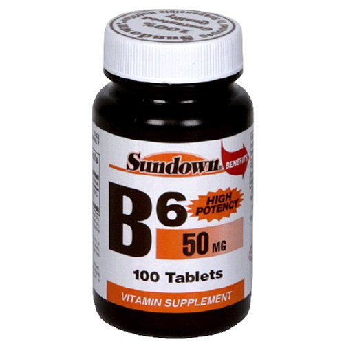 Sundown Naturals High Potency B-6, 50 mg, 100 Tablets (Pack of 6) by Sundown Naturals