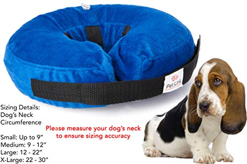 Inflatable Dog Collar, Recovery Cone, After Pet Surgery, Prevent Dogs from Biting & Scratching, Adjustable Thick Strap, Soft Comfortable Donut (Medium)