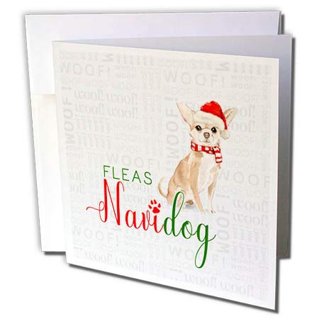 3dRose Doreen Erhardt Christmas Collection - Precious Chihuahua with Fleas Navidog Funny Typography for Christmas - 12 Greeting Cards with envelopes (gc_299897_2)