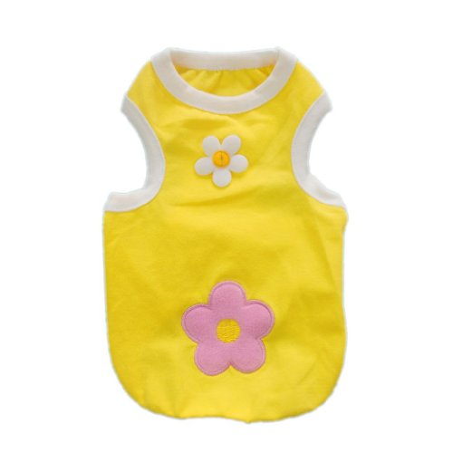 Cozy Cotton Sun Flower Dog Shirts for Dog Clothes Fashion Cute Vest Free Shipping,Yellow,L, My Pet Supplies