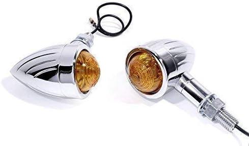 Bullet Blinker Mini metall chrom grooved kurz 2 St/ück