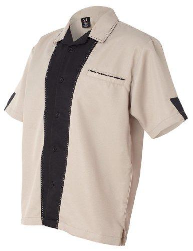 Retro Khaki Shirts (Hilton Bowling Retro Monterey (Khaki_Black) (XL))