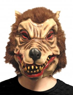 Scream Machine Adult Wolfman Latex Mask With Synthetic (Little Red Riding Hood Halloween Hair)