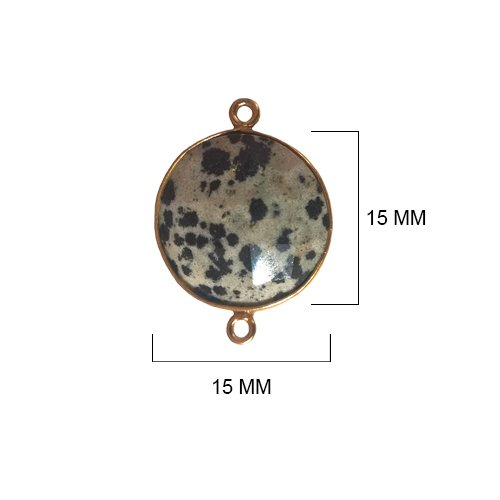 Dalmatian Jasper - Dalmatian Jasper Stone - Dalmatian Jasper Beads - Dalmatian Jasper Coin 15 mm Gold Bezel Double Loop - Bezel Gemstone Connectors - Bezel Coin – Bezel (Jasper Coin Pendant Beads)