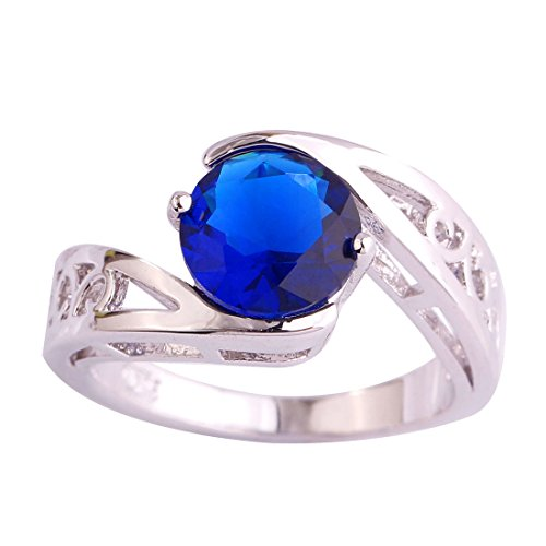 - Veunora 925 Sterling Silver Created Sapphire Filled Bypass Engagement Ring for Women Size 10