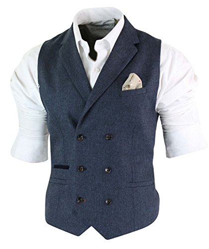 Cavani Mens Herringbone Tweed Gatsby Peaky Blinders Classic Double Breasted Waistcoat Martez-Dbc-Blue -