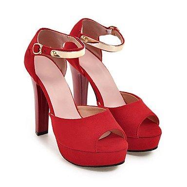 LvYuan Mujer-Tacón Robusto-Otro-Sandalias-Oficina y Trabajo Vestido Fiesta y Noche-Vellón-Negro Rojo Red
