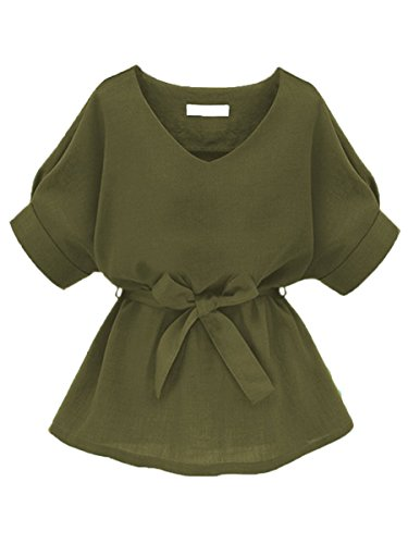 Floerns Women's V Neck Short Sleeve Self Tie Tunic Tops Peplum Blouse