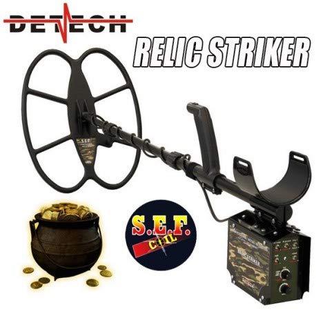 DETECH Detector de Metales Relic Striker 4,8 kHz VLF con Bobina SEF de 18 x 15 Pulgadas, Sistema de batería Recargable, con una Caja de Dibujos Animados de ...