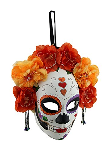 Red and Orange Day of The Dead Sugar Skull Mask w/Floral -