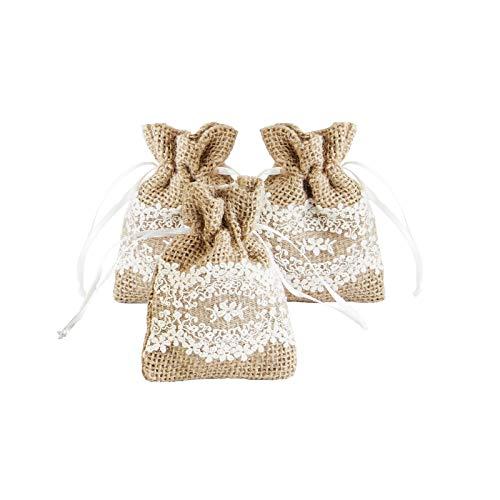 Lace Favor Bags - Burlap & Lace Favor Bags with