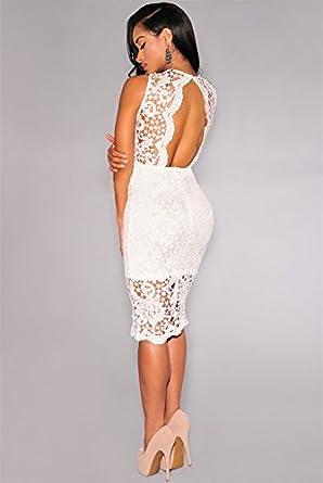 Carolina Dress Vestidos De Mujer Ropa De Moda Para Fiesta y Noche Elegante Casuales Encaje Blancos VE0015 at Amazon Womens Clothing store: