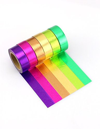 Bright Colorful Washi Masking Tape Collection (Set of 6 Rolls) Cool and Vibrant Decorative, Solid Designs(Purple, Pink, Light Brown, Gold, light Green, and Dark - Tape Duct Colored Target