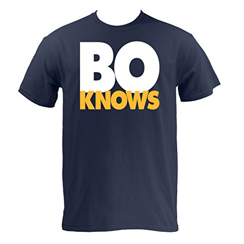 Bo Knows, Bold Block Navy/Maize T-Shirt - 3X-Large - Navy