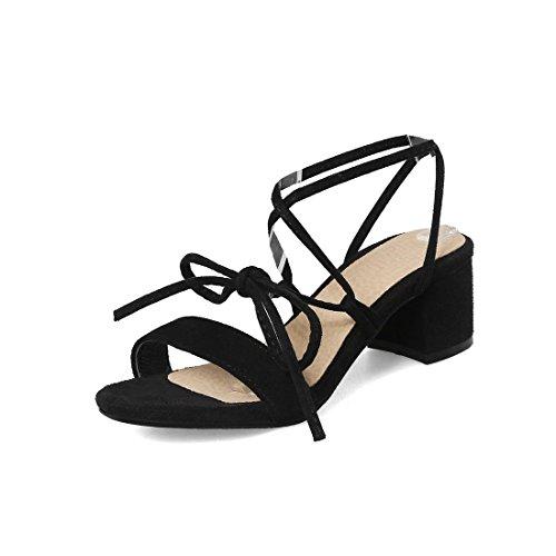 Sandalias Black con una Pulsera Sandalia Zapatos Verano para Correa Mujer Pajarita para de Dulce Mujer Mala Tacón Mujer Sandalias Banquete de REzq4R