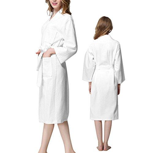 uxcell Cotton Lady Waffle Kimono Bathrobe Belted Spa Robe Knee-Length Sleepwear XXL (Belted Waffle)